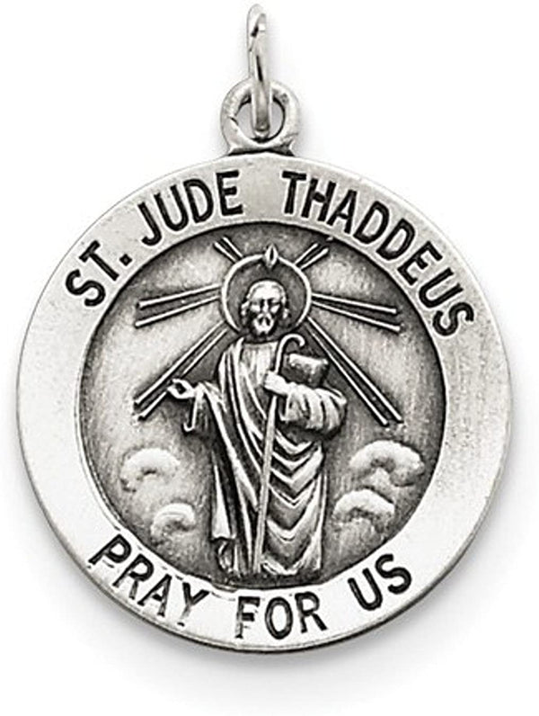 Sterling Silver St. Jude Thaddeus Medal Pendant (25X20 MM)