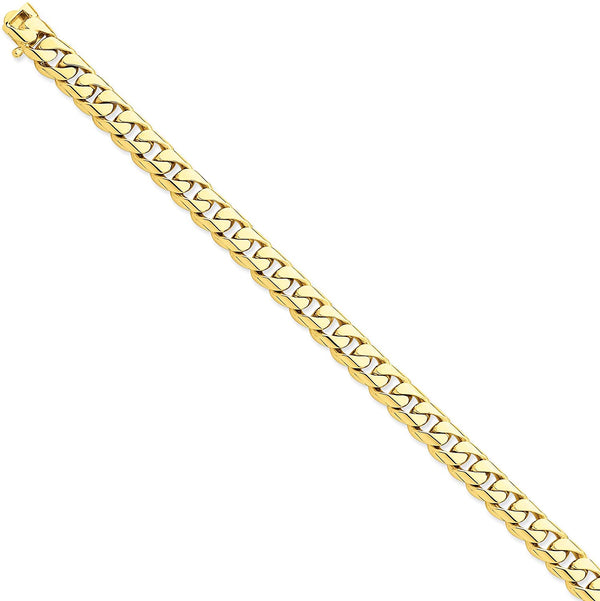 Men's 14k Yellow Gold 8.75mm Rounded Cuban Link Bracelet, 9 Inches