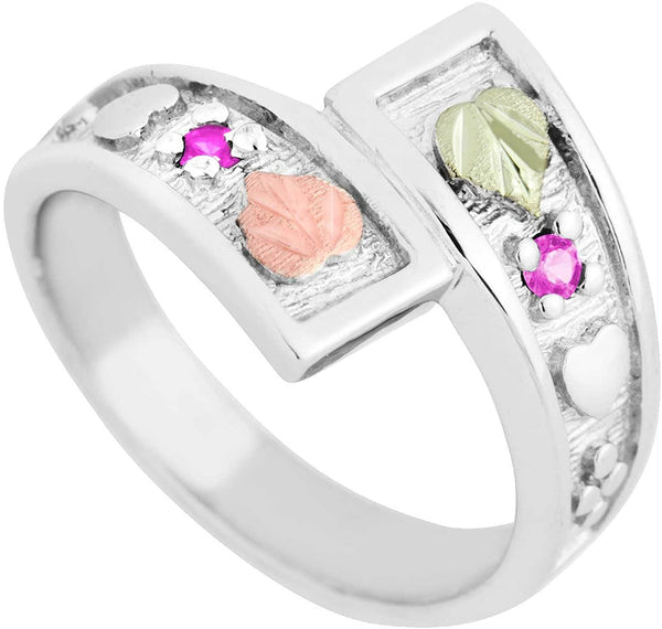 October Birthstone Created Rose Zircon Bypass Ring, Sterling Silver, 12k Green and Rose Gold Black Hills Silver Motif, Size 7