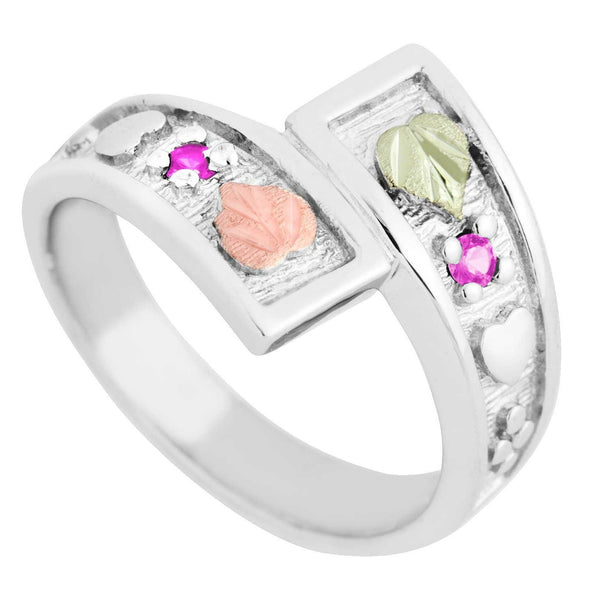 October Birthstone Created Rose Zircon Bypass Ring, Sterling Silver, 12k Green and Rose Gold Black Hills Silver Motif, size