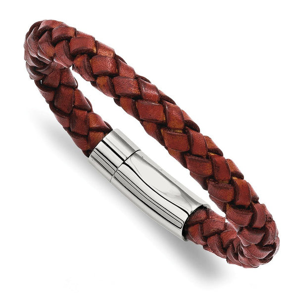 Men's Stainless Steel 6mm Brown Leather Bracelet, 8.5""