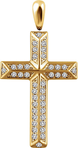 Diamond Angled Cross Rhodium-Plated 14k Yellow Gold Pendant (.33 Ctw, H+ Color, I1 Clarity)