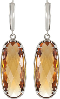 Two-Sided 24.8 Ctw Checkerboard Honey Quartz Sterling Silver Earrings