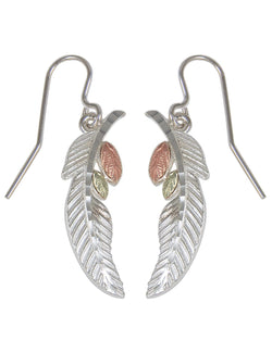 Sterling Silver Feather and Leaf Black Hills Gold Motif Earrings
