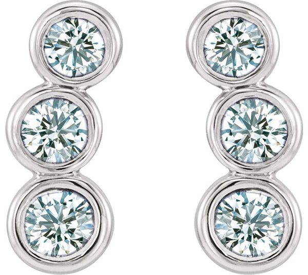 Diamond Three-Stone Ear Climbers, Rhodium-Plated 14k White Gold (.5 Ctw, G-H Color, I1 Clarity)