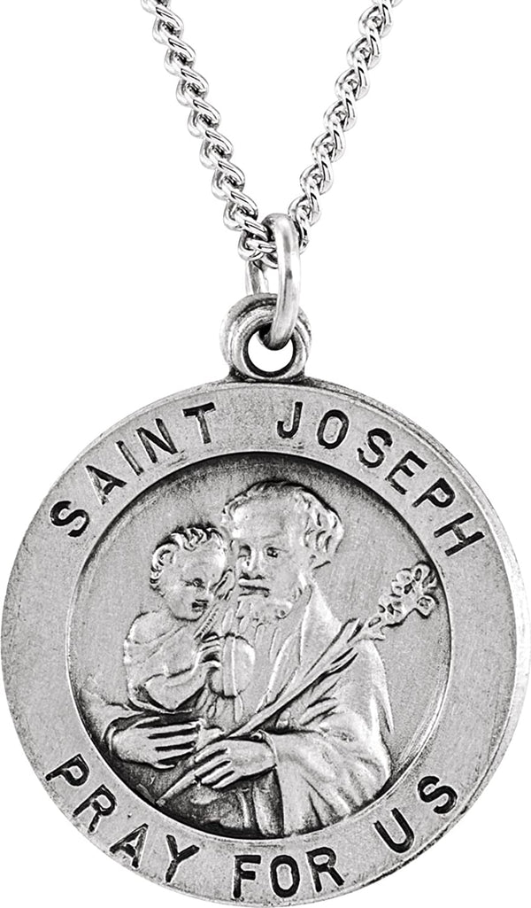 "Sterling Silver Round St. Joseph Medal Necklace, 24"" (22 MM)"