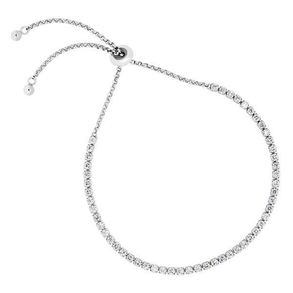 CZ Line Rhodium Plated Sterling Silver Bolo Bracelet, 8""