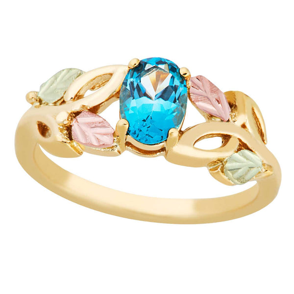 Slim Profile Oval Blue Topaz Ring, 10k Yellow Gold, 12k Green and Rose Gold Black Hills Silver Motif