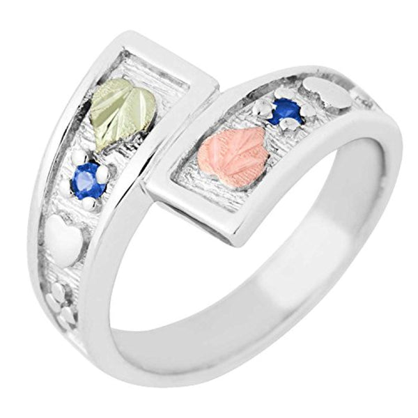September Birthstone Created Blue Spinel Bypass Ring, Sterling Silver, 12k Green and Rose Gold Black Hills Silver Motif