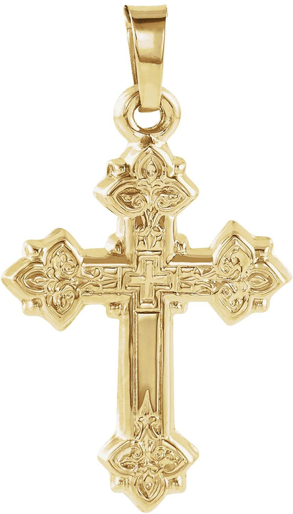 Women's Petite 14k Yellow Gold Lily Cross Pendant