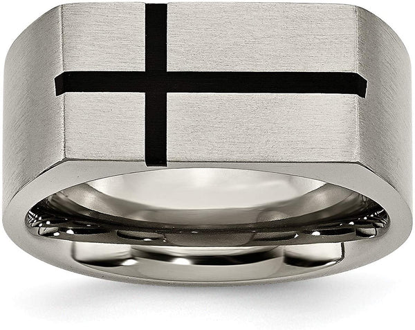 Brushed Grey Titanium 10mm Black Enamel Cross Band, Size 8.5