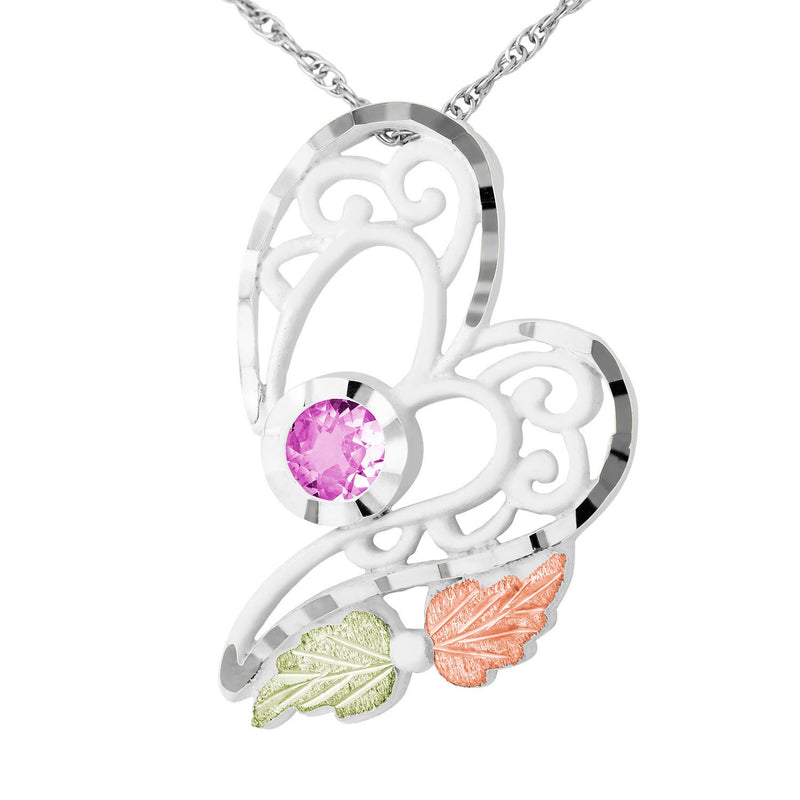 Inlaid Round Pink CZ Heart Pendant Necklace, Sterling Silver 10k Yellow Gold 12k Green and Rose Gold Black Hills Gold Motif, 18""