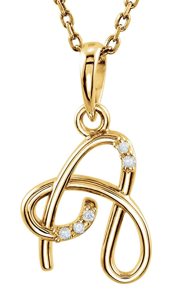 "5-Stone Diamond Letter 'A' Initial 14k Yellow Gold Pendant Necklace, 18"" (.03 Cttw, GH, I1)"