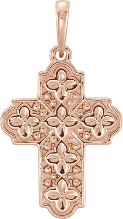 Ornate Floral-Inspired Cross 14k Rose Gold Pendant (17.80X13.70 MM)