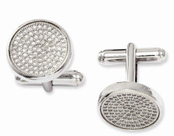 Sterling Silver and Cubic Zirconia Brilliant Embers Coin Cuff Links