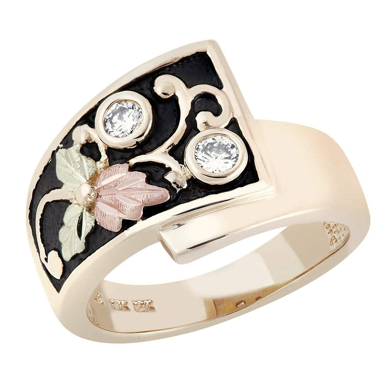 Inlaid Diamond Foliage Antique Ring, 10k Yellow Gold, 12k Green and Rose Gold Black Hills Gold Motif (.2 Ct)