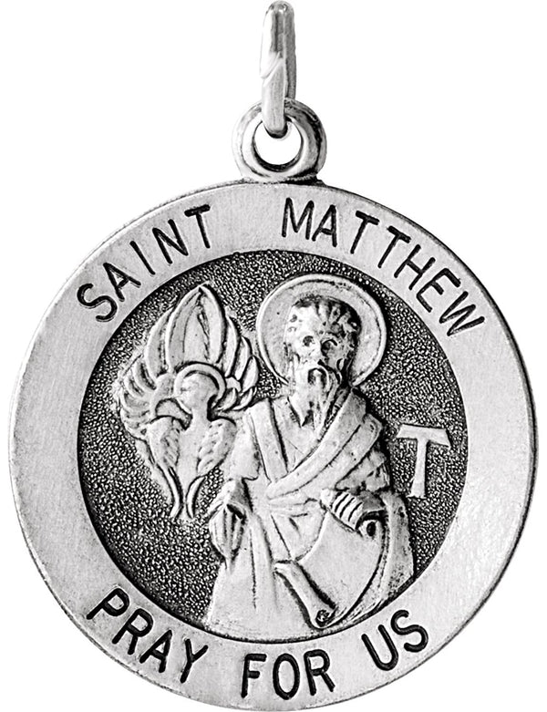 Sterling Silver Round St. Matthew Medal (15MM)