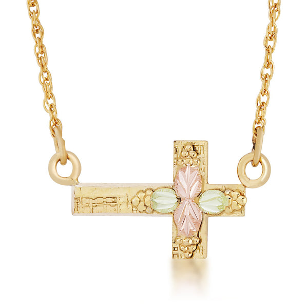Sideways Cross Pendant Necklace, 10k Yellow Gold, 12k Green and Rose Gold Black Hills Gold Motif, 16""