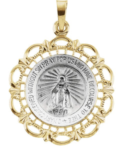 14k White and Yellow Gold Two-Tone Miraculous Medal (25x21 MM)