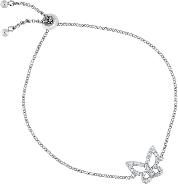 The Men's Jewelry Store (for HER) Open-Cut Butterfly CZ Rhodium Plated Sterling Silver Bolo Bracelet, 8""