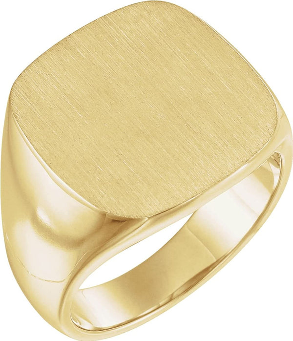 Men's Closed Back Signet Ring, 10k Yellow Gold (18mm) Size 12
