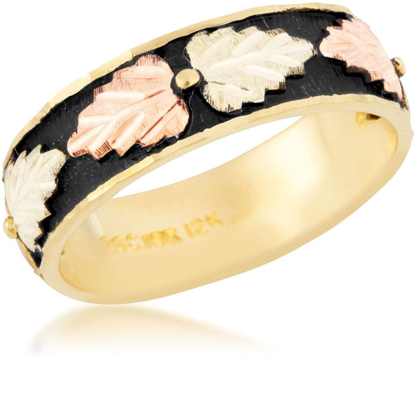 Women's Antiqued Wedding Band, 10k Yellow Gold, 12k Pink and Green Gold Black Hills Gold Motif, Size 5
