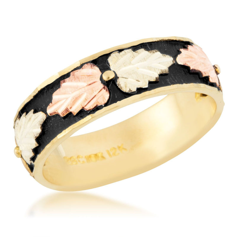 Women's Antiqued Wedding Band, 10k Yellow Gold, 12k Pink and Green Gold Black Hills Gold Motif