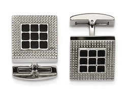 Stainless Steel Polished Black Rubber Square Cuff Links