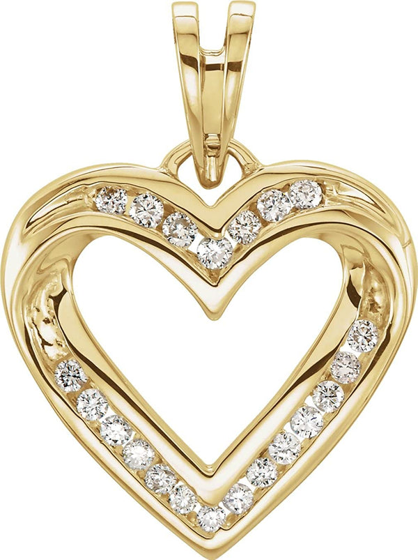 14k Gold Heart Pendant (GH Color, I1 Clarity, 1/4 Cttw)