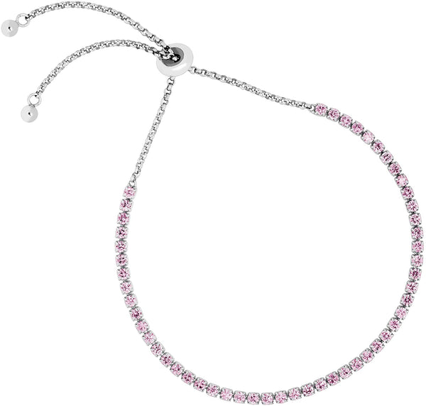 The Men's Jewelry Store (for HER) Pink CZ Line Rhodium Plated Sterling Silver Bracelet, 8""