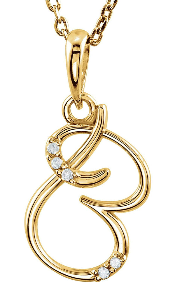 "5-Stone Diamond Letter 'B' Initial 14k Yellow Gold Pendant Necklace, 18"" (.03 Cttw, GH, I1)"