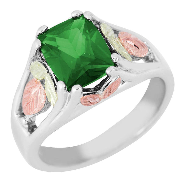 May Birthstone Created Soude Emerald Ring, Sterling Silver, 12k Green and Rose Gold Black Hills Silver Motif