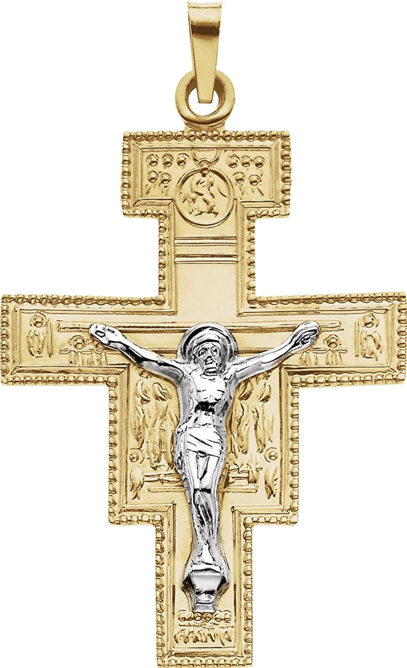 Two-Tone San Damiano Crucifix 14k Yellow and White Gold Pendant(33X25MM)