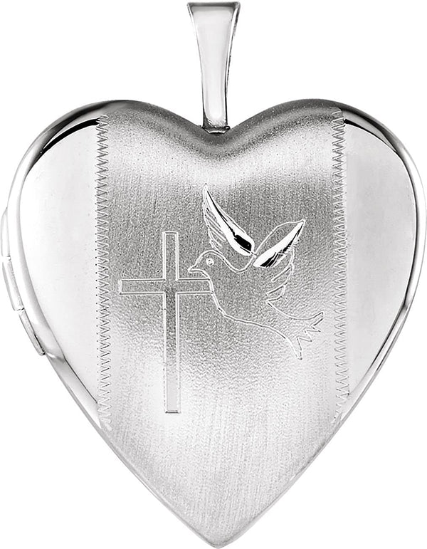 Satin-Brush Heart with Cross and Dove Sterling Silver Locket (21.60X19.60 MM)