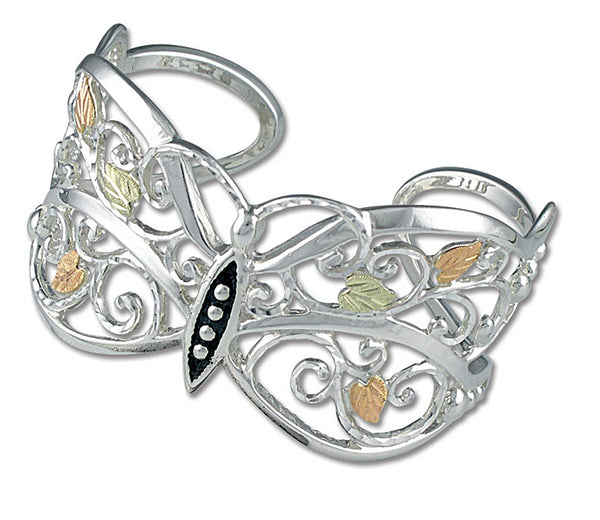 Antique Scrollwork Butterfly Bracelet, Sterling Silver, 12k Green and Rose Gold Black Hills Gold Motif, 7""