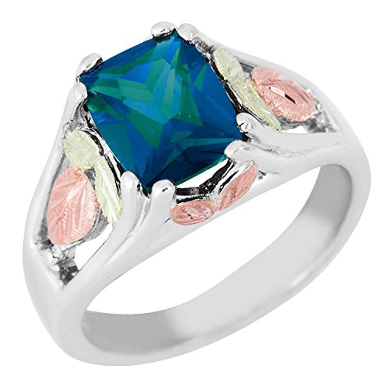 June Birthstone Created Alexandrite Ring, Sterling Silver, 12k Green and Rose Gold Black Hills Silver Motif