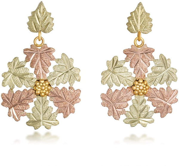 Tri-color Snowflake Post Dangle Earrings, 10k Yellow Gold, 12k Green and Rose Gold Black Hills Gold Motif