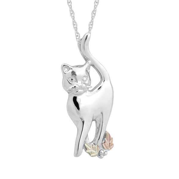 High Polished Cat Pendant Necklace, Sterling Silver, 12k Green and Rose Gold Black Hills Gold Motif, 18""