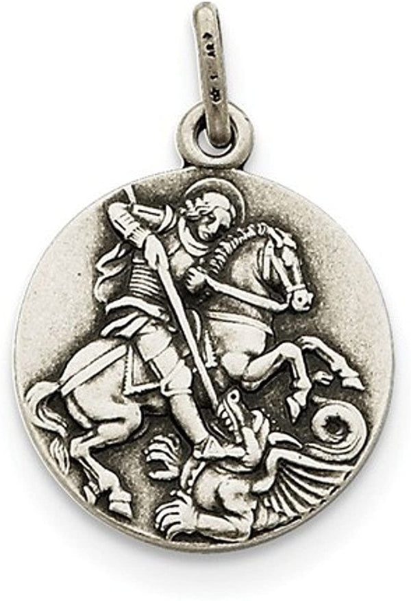 Sterling Silver Antiqued Saint George Medal Pendant (26X20 MM)