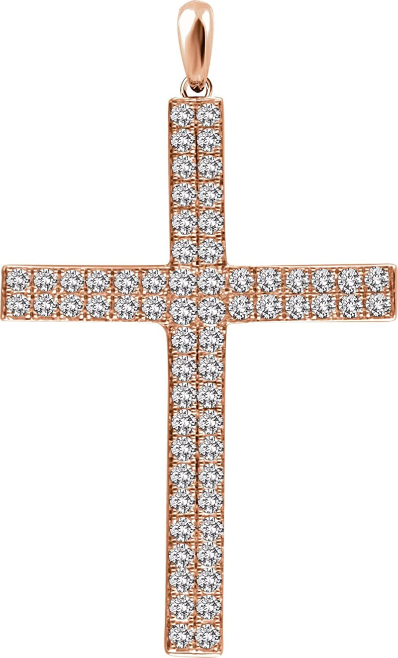 Diamond Western Cross Pendant, 14k Rose Gold (1 Ctw, H+ Color, I1 Clarity)