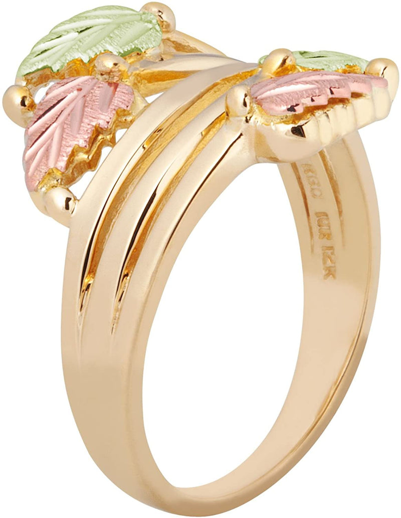 Layered Vines Bypass Leaves Ring, 10k Yellow Gold, 12k Green and Rose Gold Black Hills Gold Motif, Size 6.5