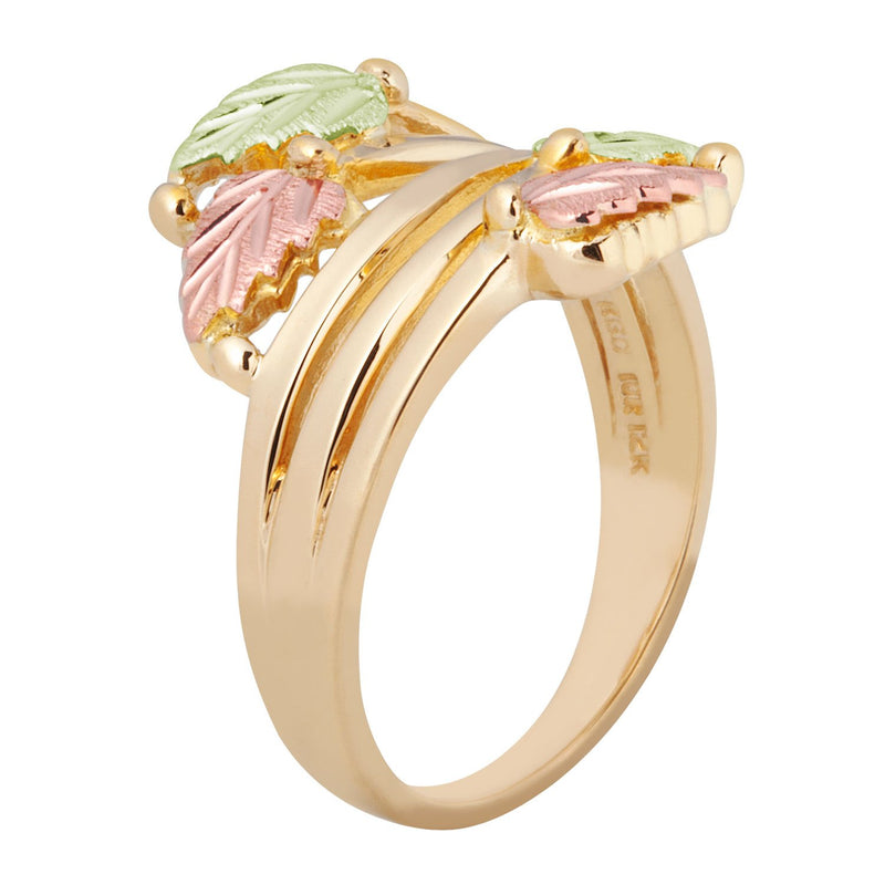 Layered Vines Bypass Leaves Ring, 10k Yellow Gold, 12k Green and Rose Gold Black Hills Gold Motif, Size 7.25