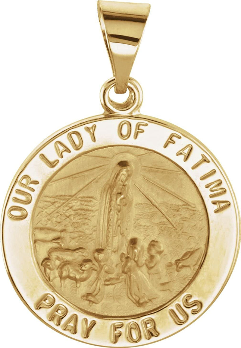 14k Yellow Gold Round Hollow Fatima Medal (18.25 MM)