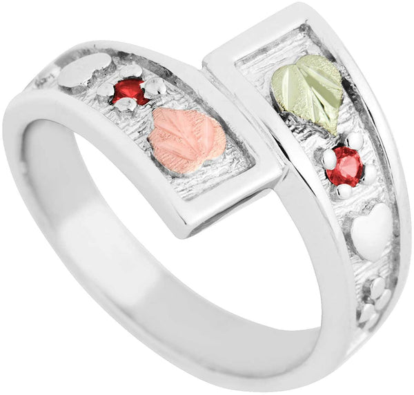 July Birthstone Created Ruby Bypass Ring, Sterling Silver, 12k Green and Rose Gold Black Hills Silver Motif, Size 6.25