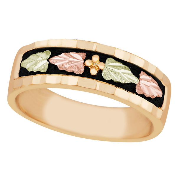 Wedding Antiqued Band, 10k Yellow Gold, 12k Green and Rose Gold Black Hills Gold Motif