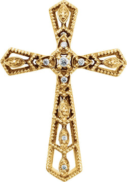 Diamond Milgrain Cross 14k Yellow Gold Pendant (.025 Ctw, H+ Color, I1 Clarity)