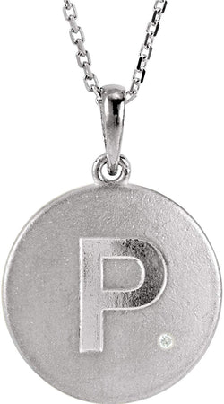 "Diamond Letter 'P' Initial Sterling Silver Pendant Necklace, 18"" (.005 Ct, GH Color, I2 Clarity)"