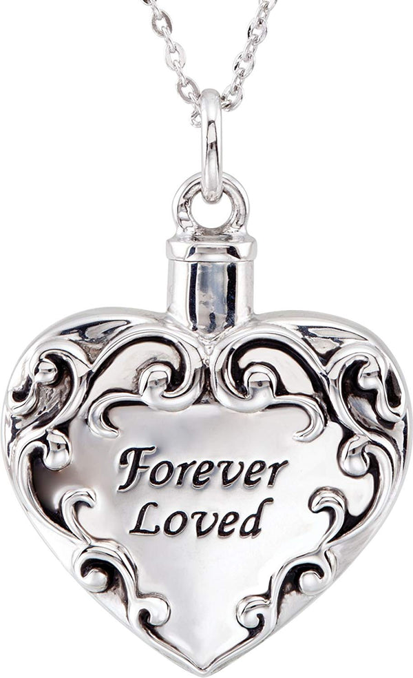 'Forever Loved' Heart Ash Holder Necklace, Rhodium Plate Sterling Silver, 18""