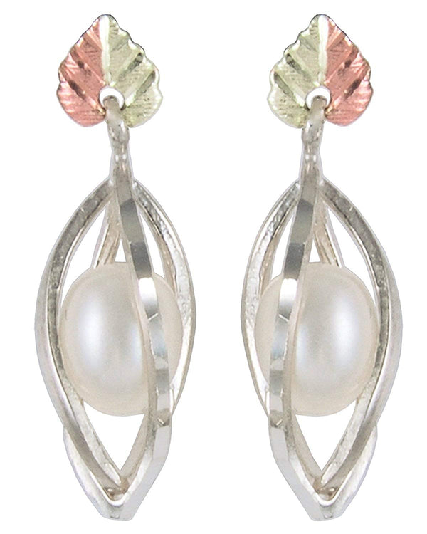 Diamond-Cut Caged Pearl Earrings, Sterling Silver, 12k Green and Rose Gold Black Hills Gold Motif