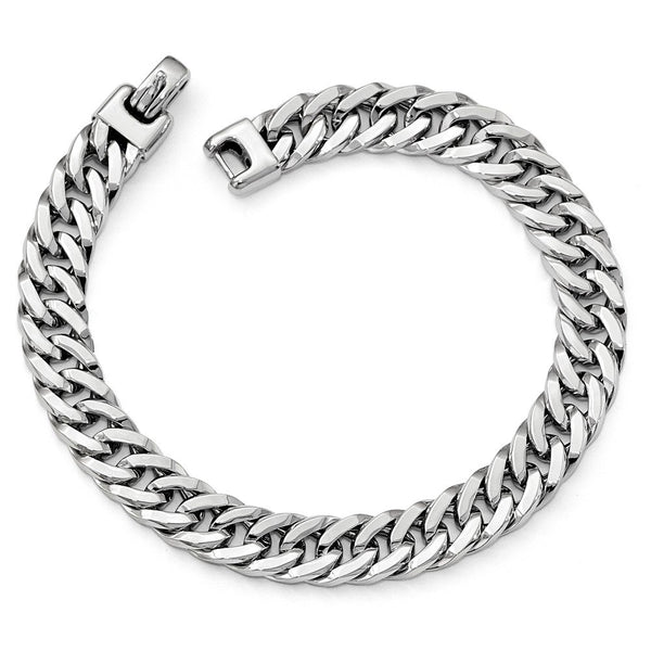 Men's Rhodium Plated 14k White Gold 9mm Curb Chain Bracelet, 8""